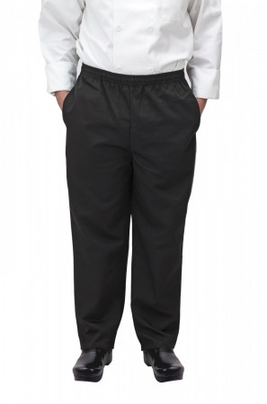 Winco UNF-2KM Medium Black Poly-Cotton Blend Relaxed Fit Chef Pants