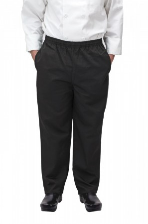 Winco UNF-2KS Small Black Poly-Cotton Blend Relaxed Fit Chef Pants
