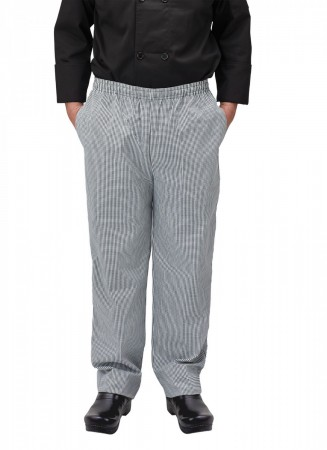 Winco UNF-4KS Small Houndstooth Poly-Cotton Blend Relaxed Fit Chef Pants