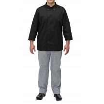 Winco UNF-5KM Medium Black Poly-Cotton Blend Double Breasted Chef Jacket with Pocket