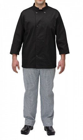Winco UNF-5KS Small Black Poly-Cotton Blend Double Breasted Chef Jacket with Pocket