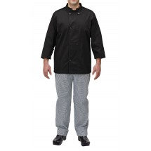 Winco UNF-5KXL X-Large Black Poly-Cotton Blend Double Breasted Chef Jacket with Pocket