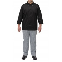 Winco UNF-5KXXL 2X-Large Black Poly-Cotton Blend Double Breasted Chef Jacket with Pocket