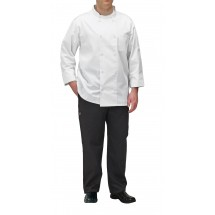 Winco UNF-5WM Medium White Poly-Cotton Blend Double Breasted Chef Jacket with Pocket