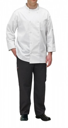 Winco UNF-5WS Small White Poly-Cotton Blend Double Breasted Chef Jacket with Pocket