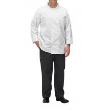 Winco UNF-5WXL X-Large White Poly-Cotton Blend Double Breasted Chef Jacket with Pocket