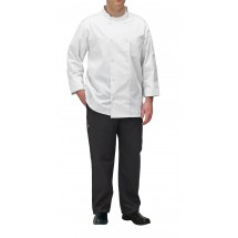 Winco UNF-5WXXL 2X-Large White Poly-Cotton Blend Double Breasted Chef Jacket with Pocket