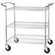 "Winco VCCD-1836B 3-Tier Wire Chrome Plated Shelving Cart 18"" x 36"""