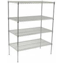 "Winco VCS-1848 4-Tier Wire Chrome-Plated Shelving Set 18"" x 48"" x 72"""