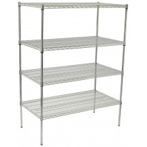 "Winco VCS-2448 4-Tier Wire Chrome-Plated Shelving Set 24"" x 48"" x 72"""