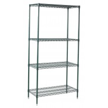 "Winco VEXS-2436 4-Tier Wire Epoxy-Coated Shelving Set 24"" x 36"" x 72"""