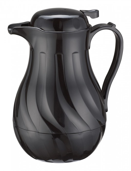 Winco VSW-42K Black Insulated Plastic Beverage Server 42 oz.