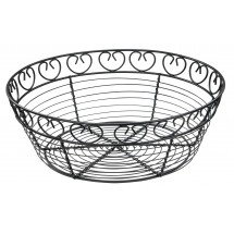 "Winco WBKG-10R Round Wire Bread/Fruit Basket 10"" x 3"""
