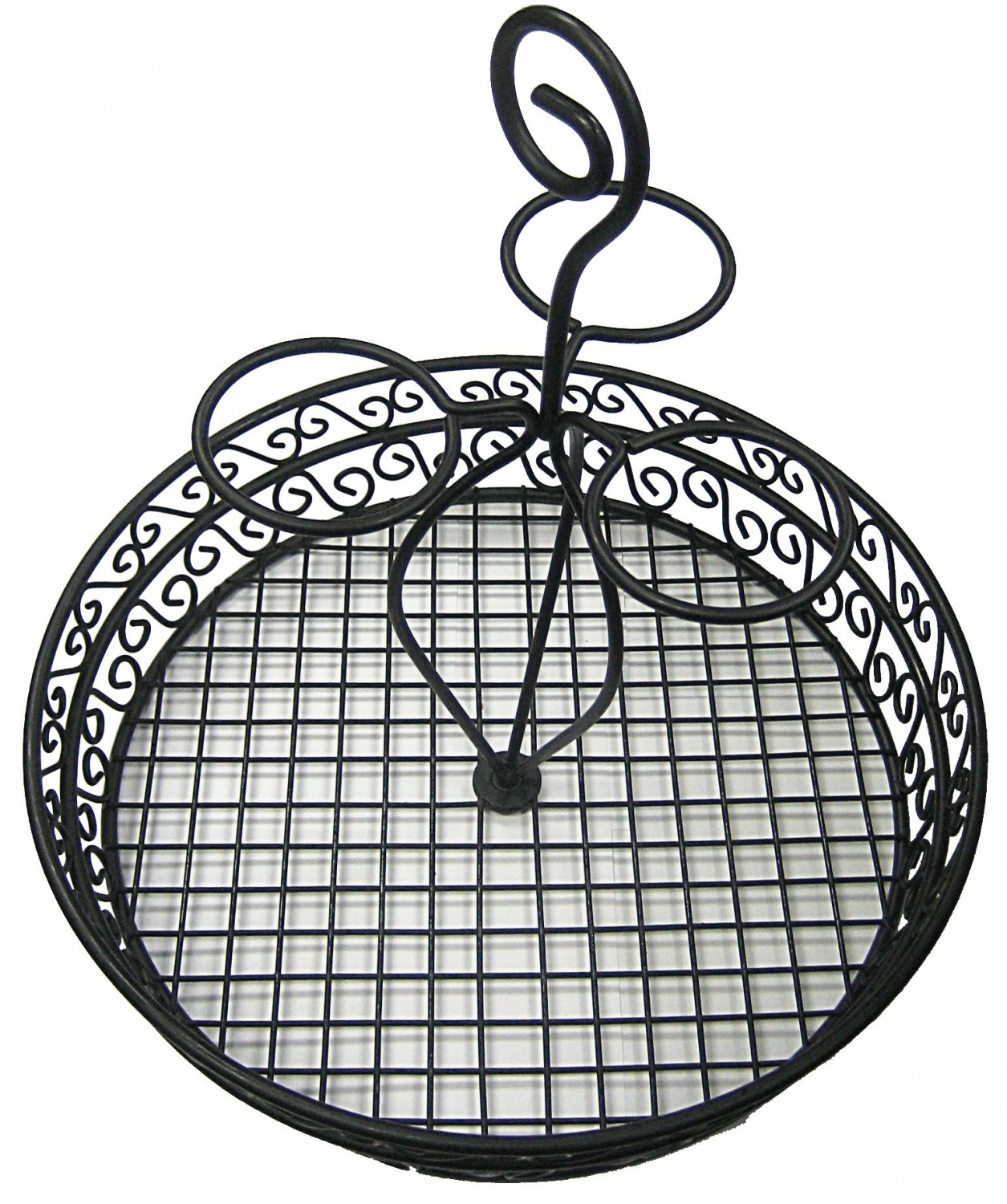 "Winco WBKH-12 12"" Round Black Wire Condiment Caddy"