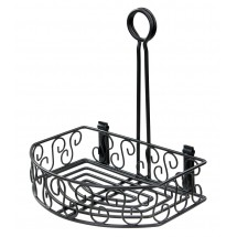 "Winco WBKH-6SB 6-1/4"" Round Black Wire Condiment Caddy"