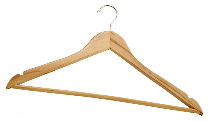 Winco WCH-1 Wooden Clothes Hanger - 1 doz