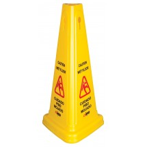 Winco WCS-27T Tri Cone Wet Floor Caution Sign 27""
