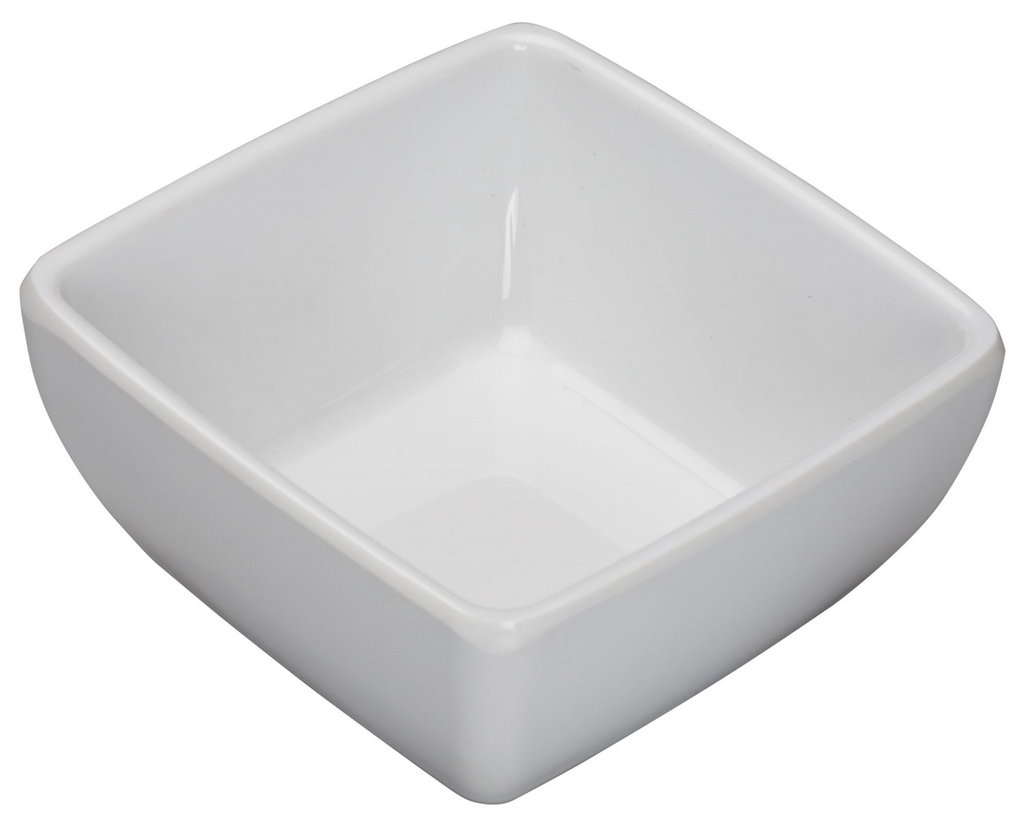 Winco WDM009-202 Ardesia Linza White Melamine Square Mini Bowl 3-1/2&
