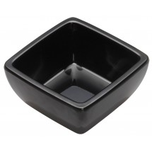 Winco WDM009-301 Ardesia Linza Black Melamine Square Mini Bowl 2-1/2""