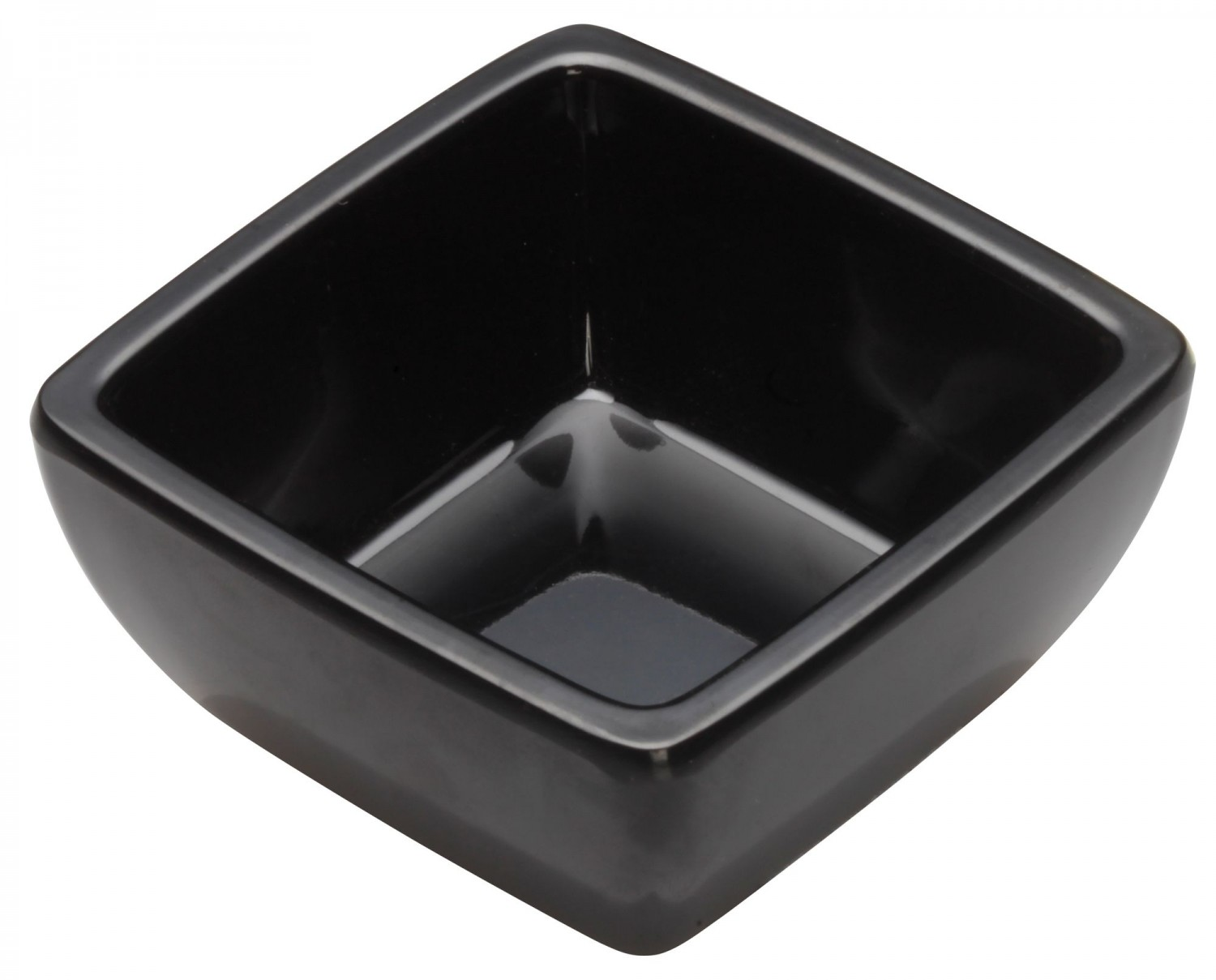 Winco WDM009-301 Ardesia Linza Black Melamine Square Mini Bowl 2-1/2&