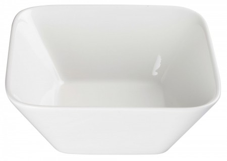 Winco WDP008-104 Ardesia Laurets Porcelain Bright White Square Bowl 7-5/8""