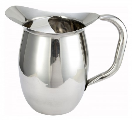 Winco WPB-2C Stainless Steel Deluxe Bell Pitcher with Ice Catcher 2 Qt.