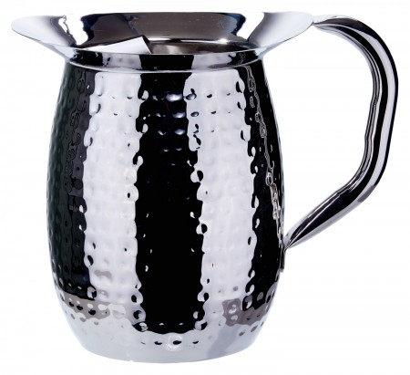 Winco WPB-2CH Stainless Steel Hammered Bell Pitcher with Ice Catcher 2 Qt.