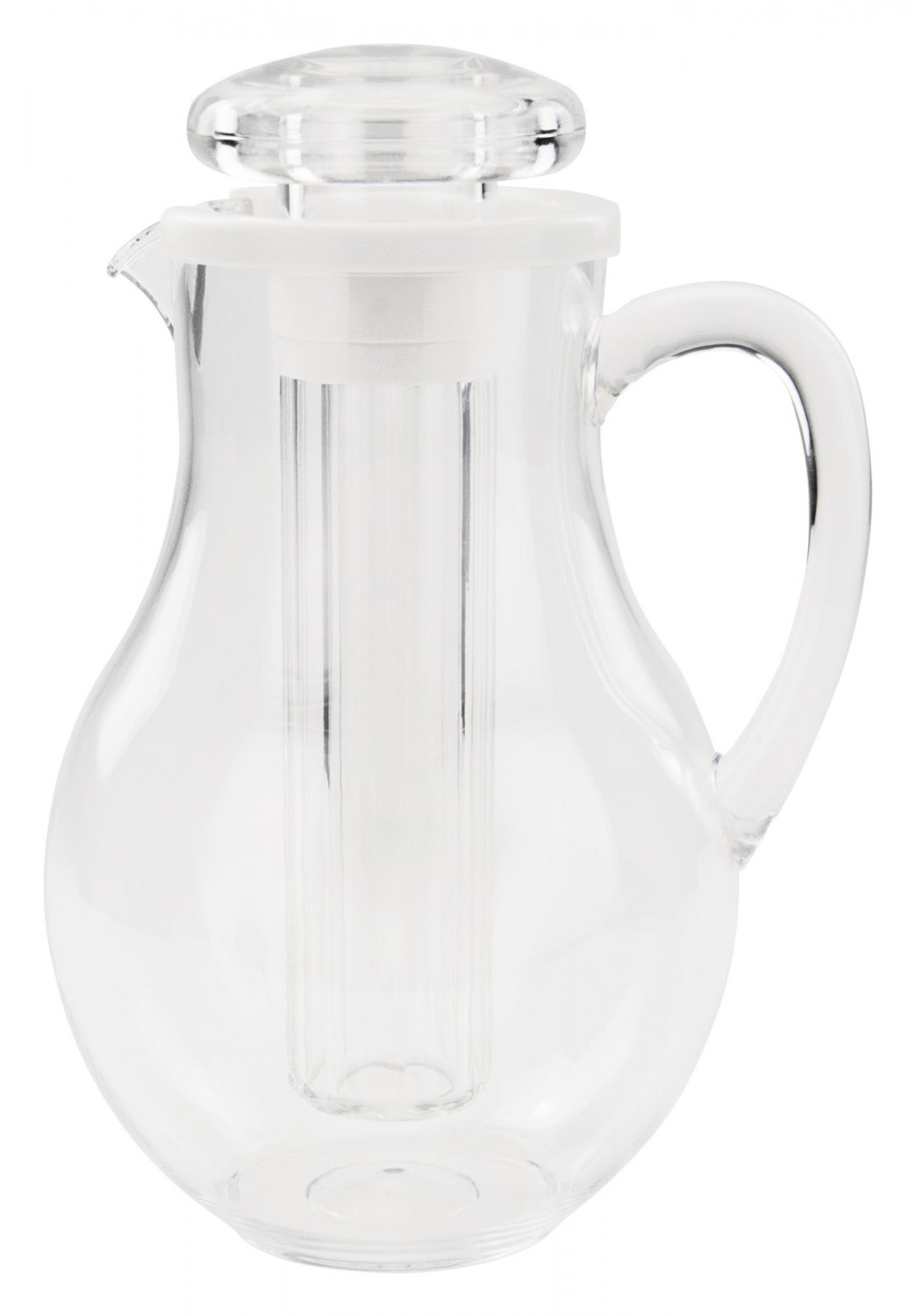 Winco WPIT-19 Polycarbonate Water Pitcher With Ice Tube Core 2 Qt.