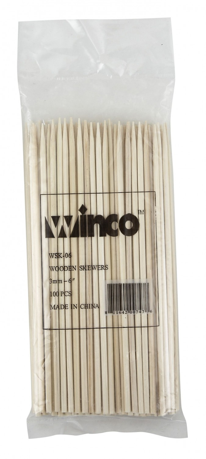 Winco WSK-06 Bamboo Skewers 6& - 100 pcs
