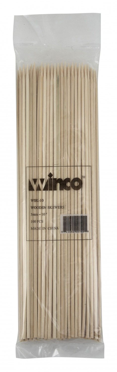 "Winco WSK-10 Bamboo Skewers 10"" - 100 pcs"