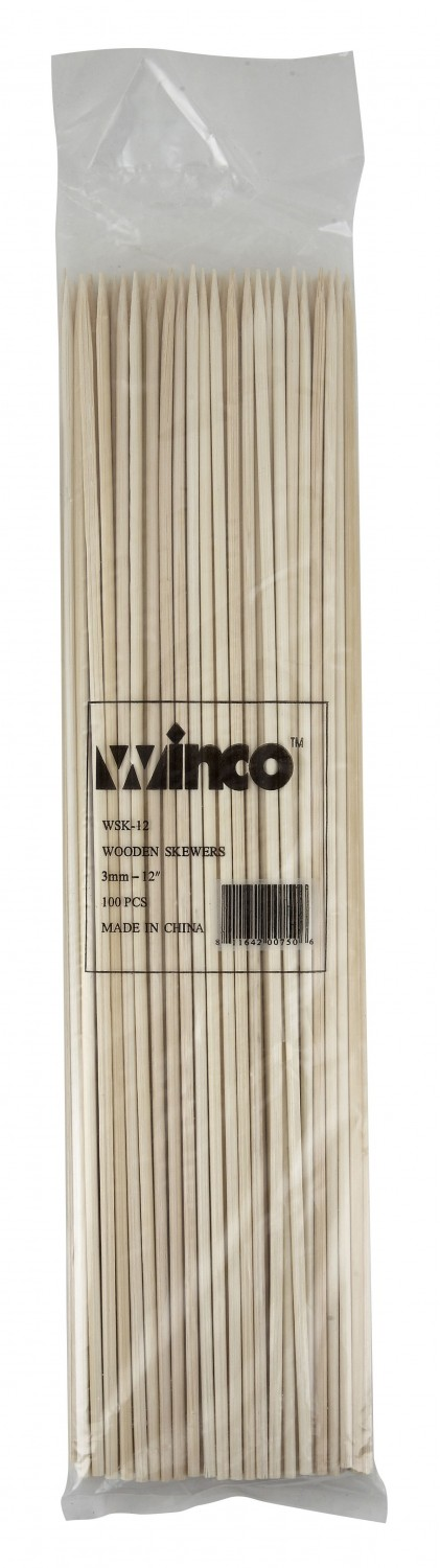 Winco WSK-12 Bamboo Skewers 12& - 100 pcs