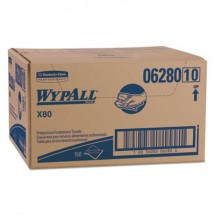Wypall X80 Foodservice Towel, Hydroknit, Blue/White, 150 Towels/Carton