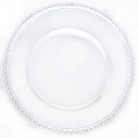 "TigerChef Round Clear Beaded Rim Glass Charger Plate 13"" - Set of 8"