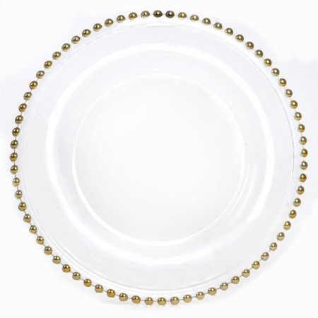 TigerChef Round Gold Beaded Rim Glass Charger Plate 13""